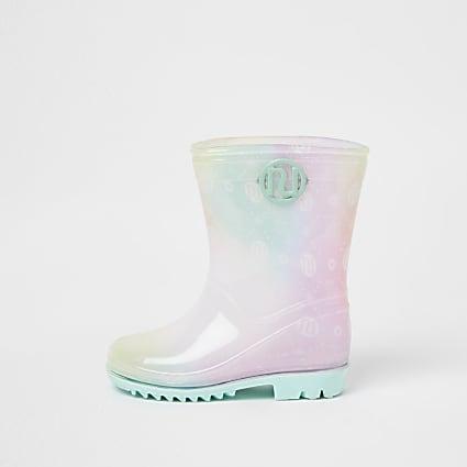 Mini girls pink RI print ombre wellie boots