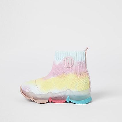 Mini girls pink RI rainbow high top trainers
