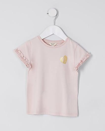 Mini girls pink RI ruffle sleeve t-shirt