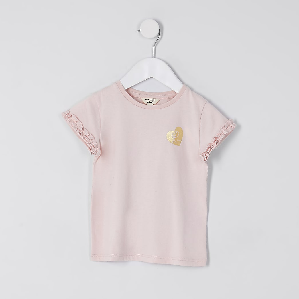 Mini girls pink RI ruffle sleeve t-shirt