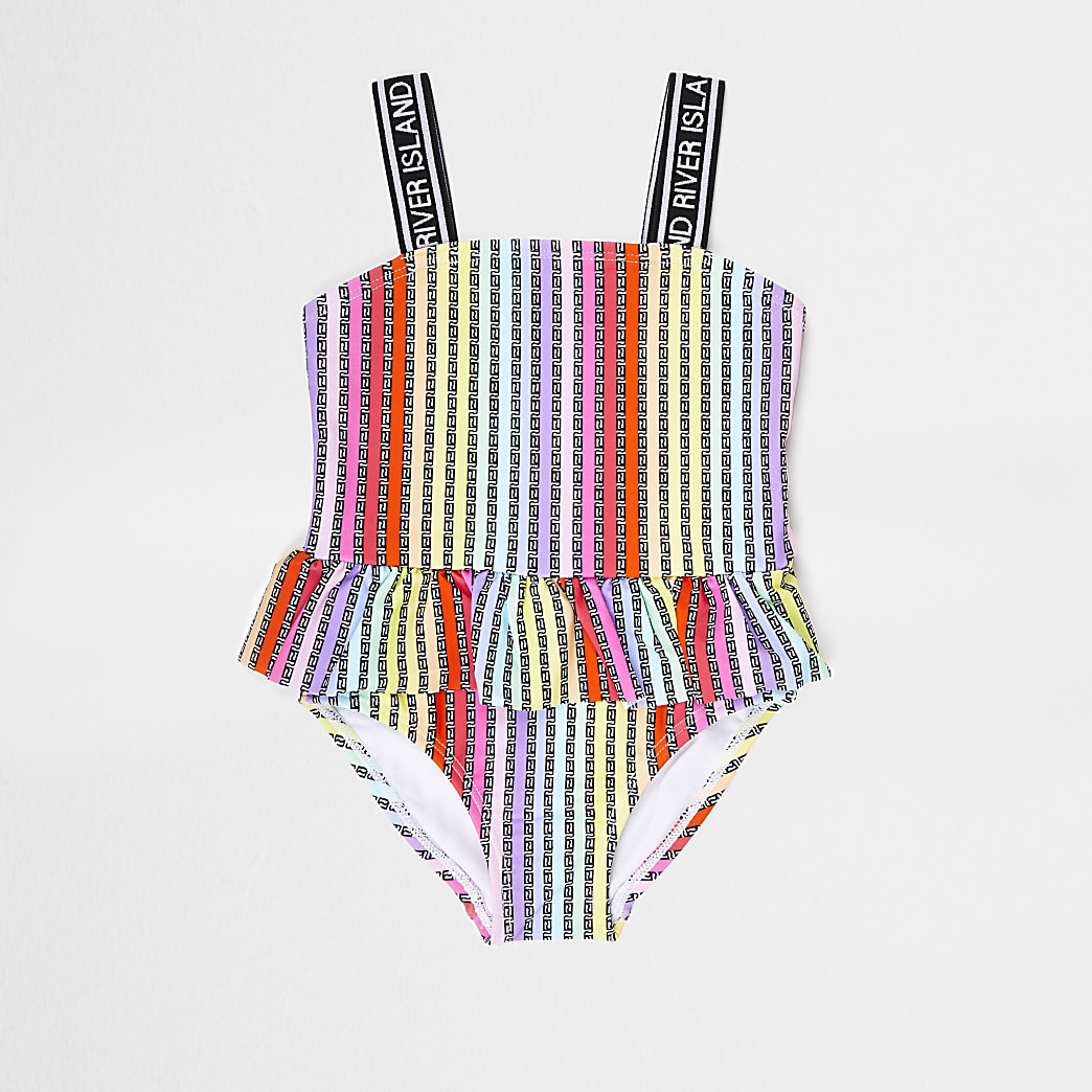 Mini girls pink RI stripe peplum swimsuit