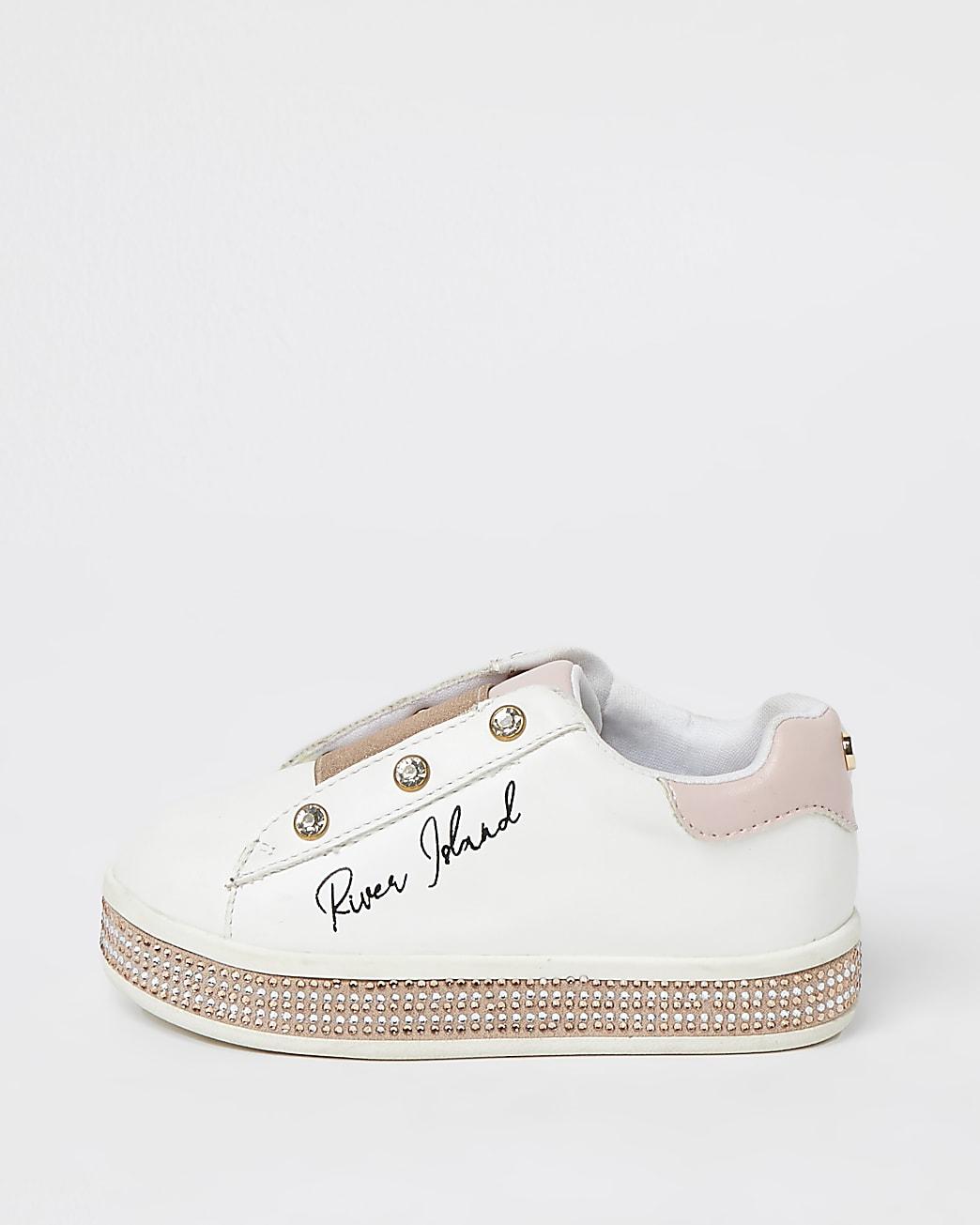 Mini girls pink RI stud lace up trainers