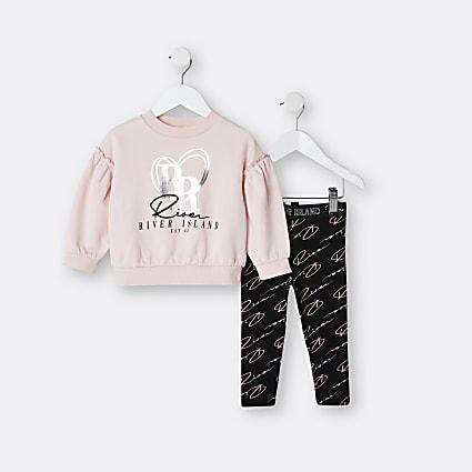 Mini girls pink RI sweatshirt outfit