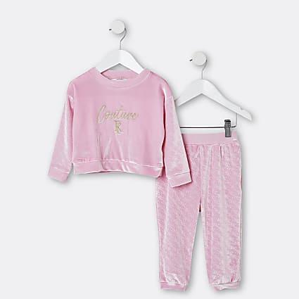 Mini girls pink RI velour pyjama 2 piece set
