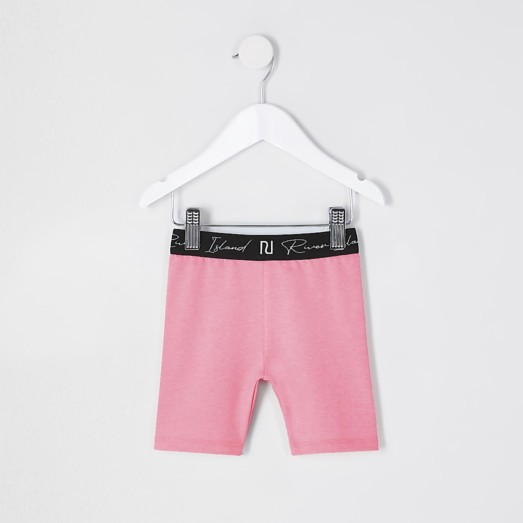 Mini girls pink RI waistband cycling short
