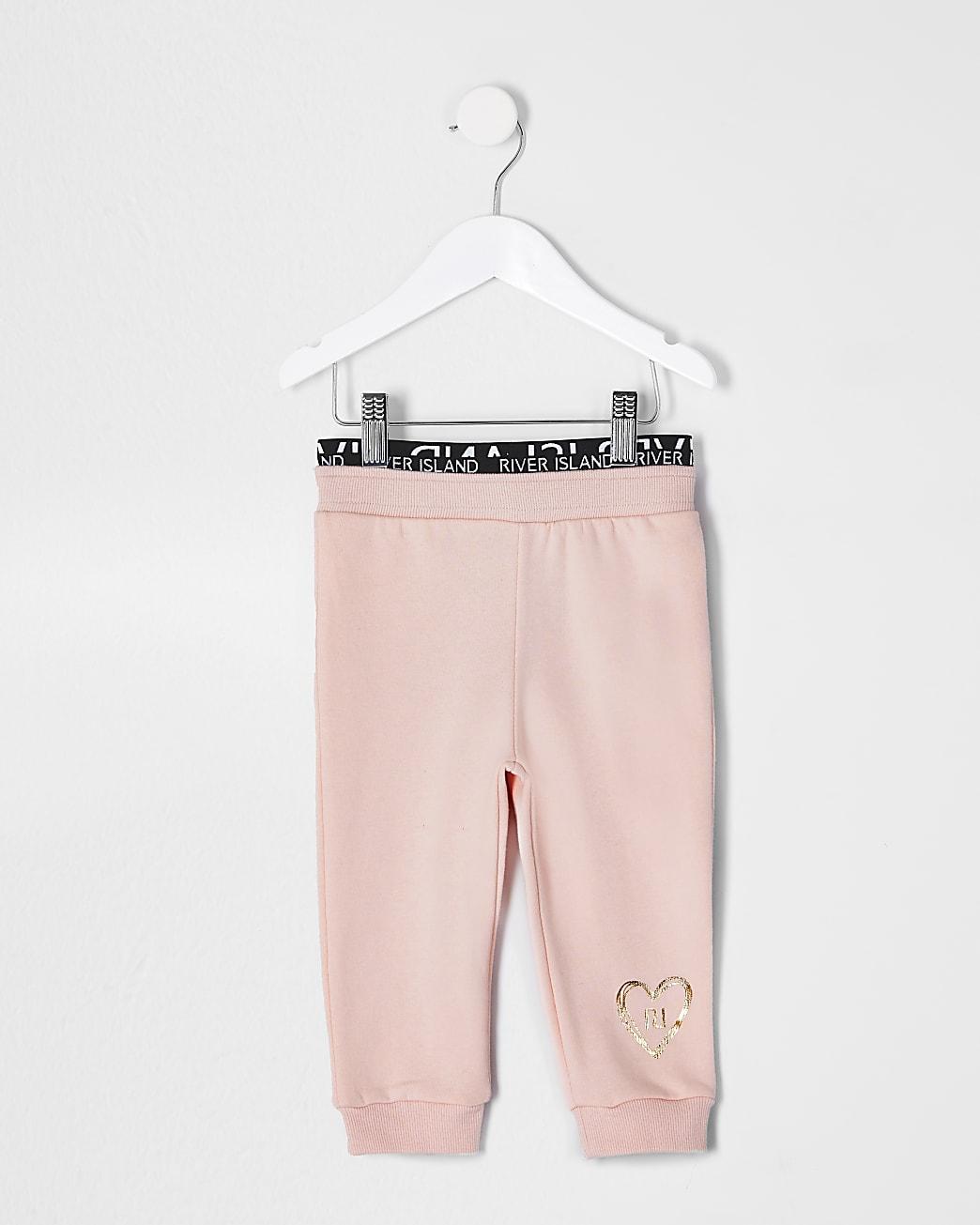 Mini girls pink RI waistband joggers