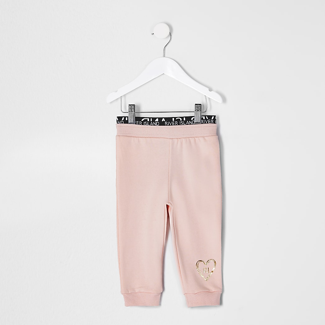Mini girls pink RI waistband joggers