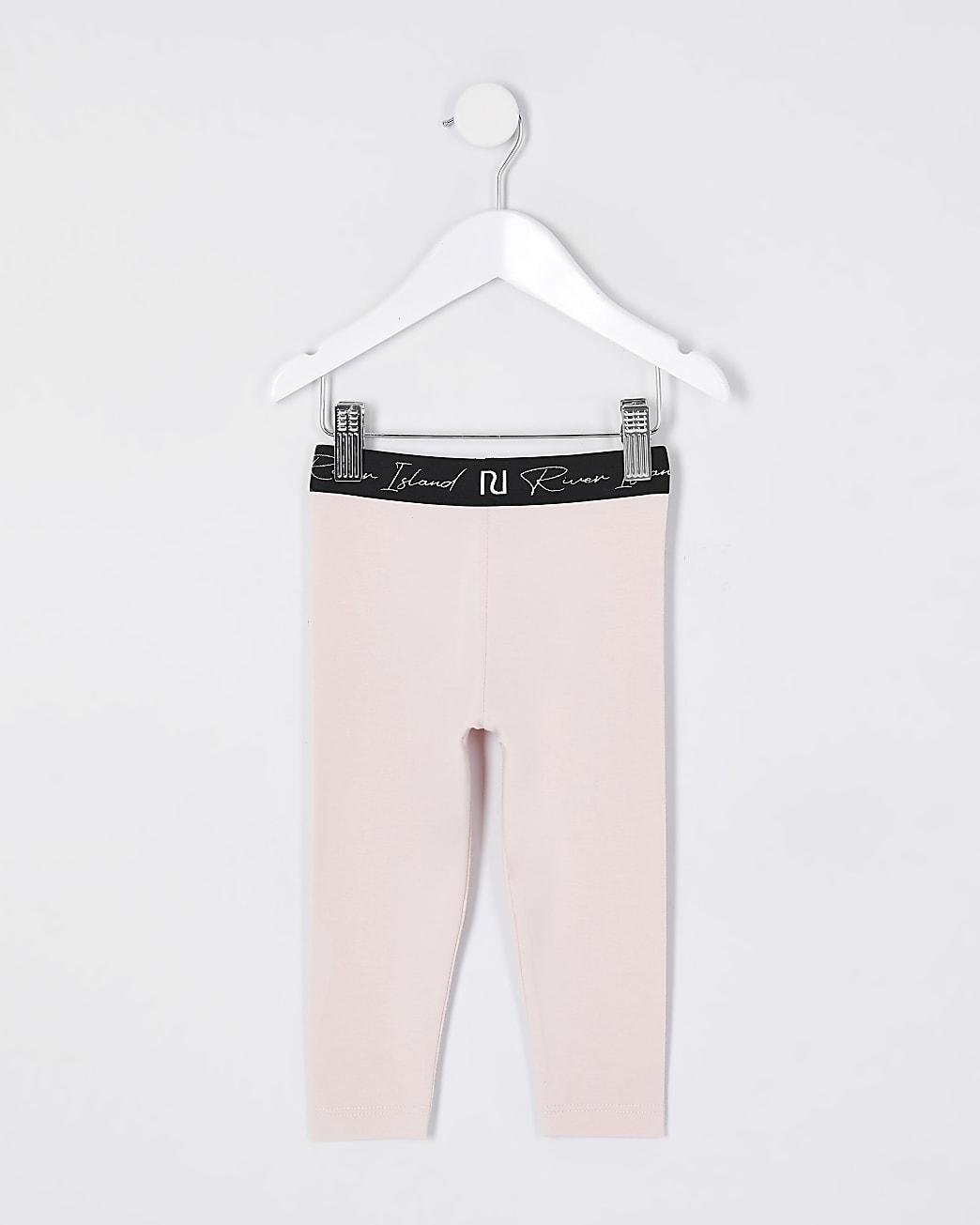 Mini girls pink RI waistband leggings