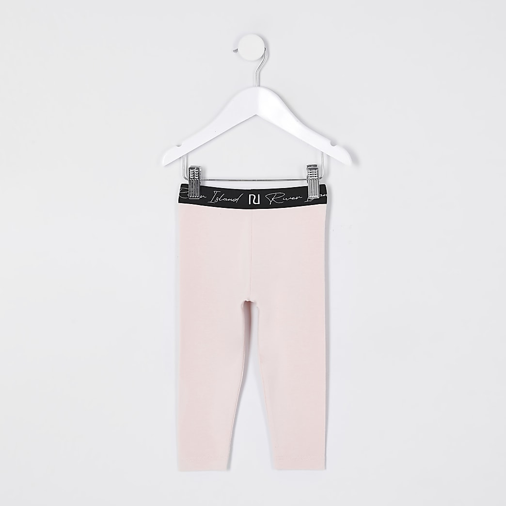 Mini girls pink RI waistband leggings