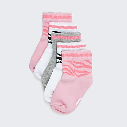 Mini girls pink RI zebra print socks 5 pack