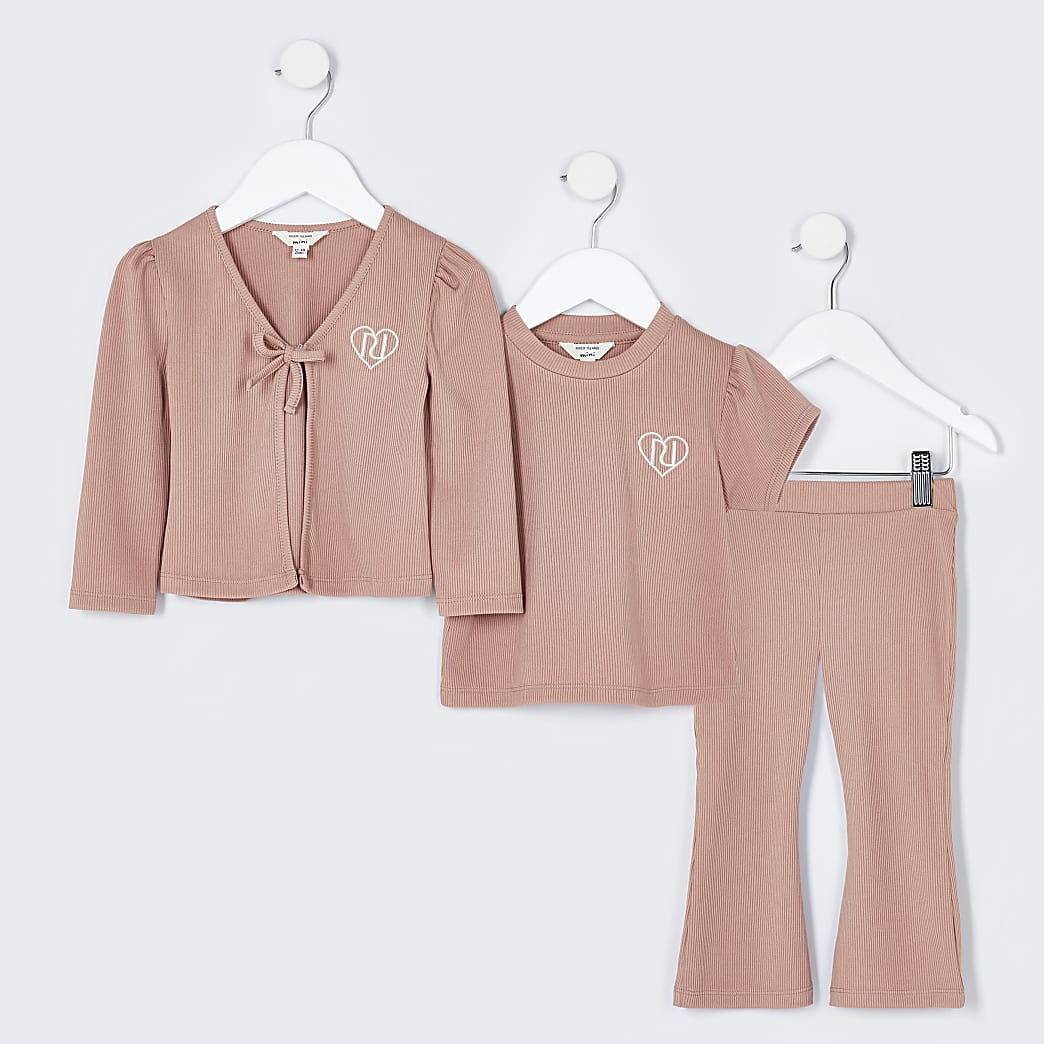 Mini girls pink rib cardi outfit