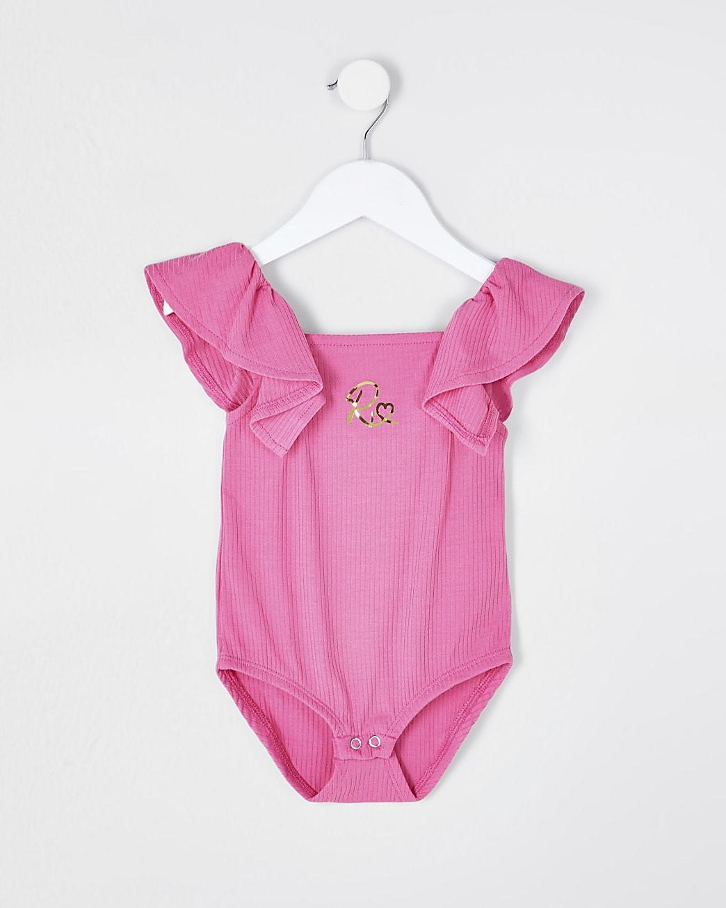 Mini girls pink rib frill bodysuit