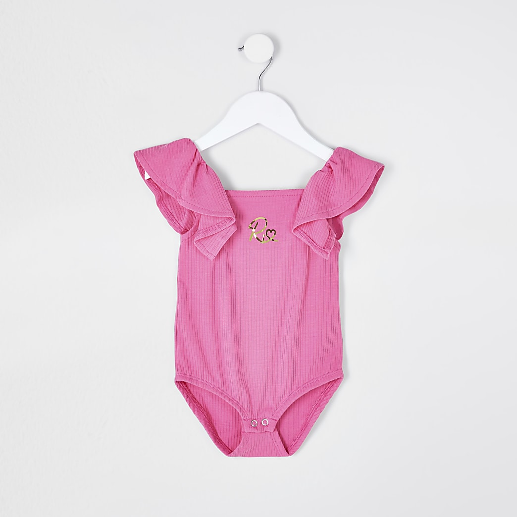 Mini girls pink rib frill bodysuit