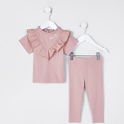 Mini girls pink rib poplin frill  outfit