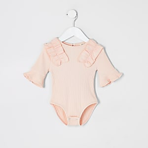 Mini girls pink ribbed poplin frill bodysuit