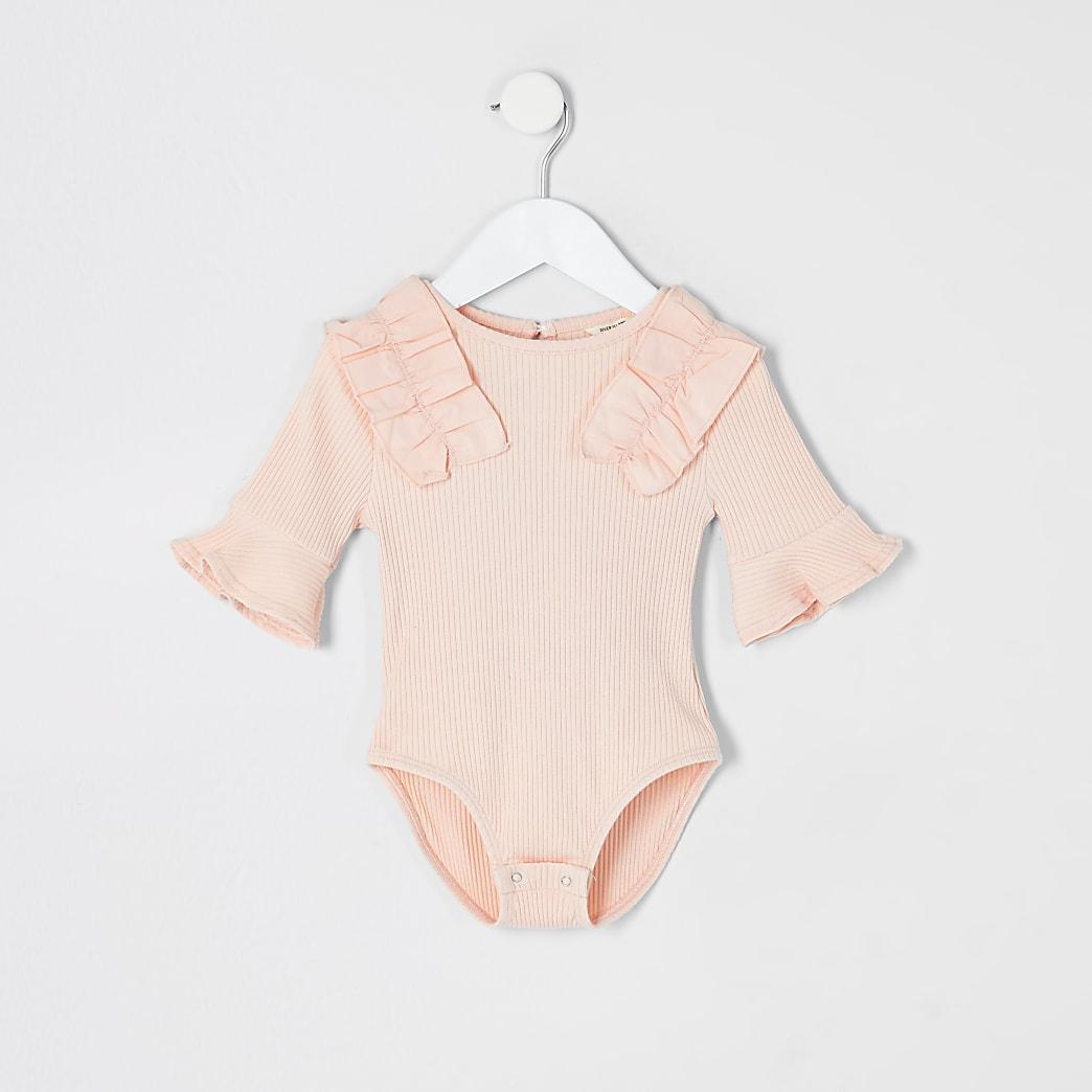 Mini - Roze geribbelde bodysuit met poplin franje voor meisjes