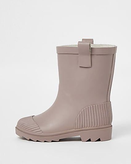 Mini girls pink ribbed wellie boots