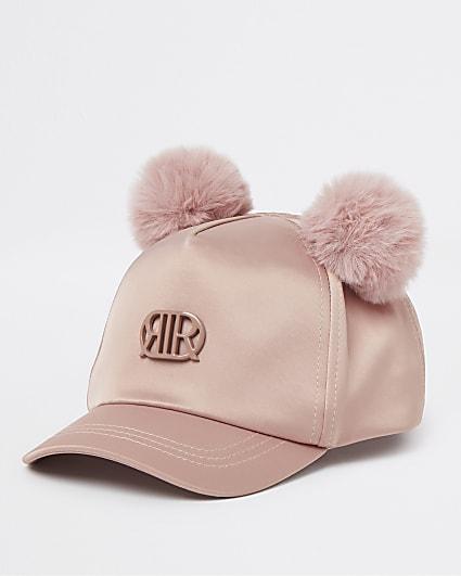 Mini girls pink RIR satin pom pom cap