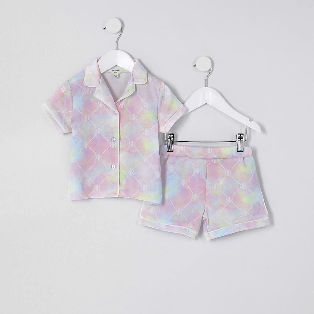 Mini girls pink RIR tie dye satin pyjama set