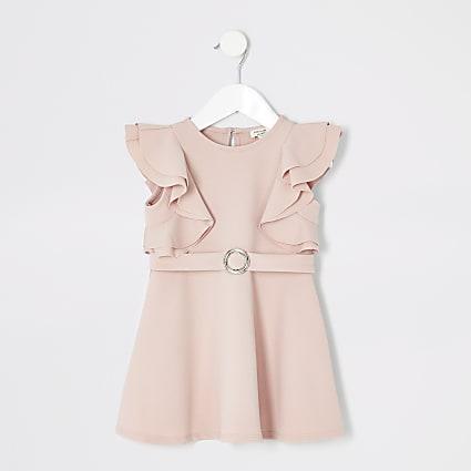 Mini girls pink ruffle belted dress