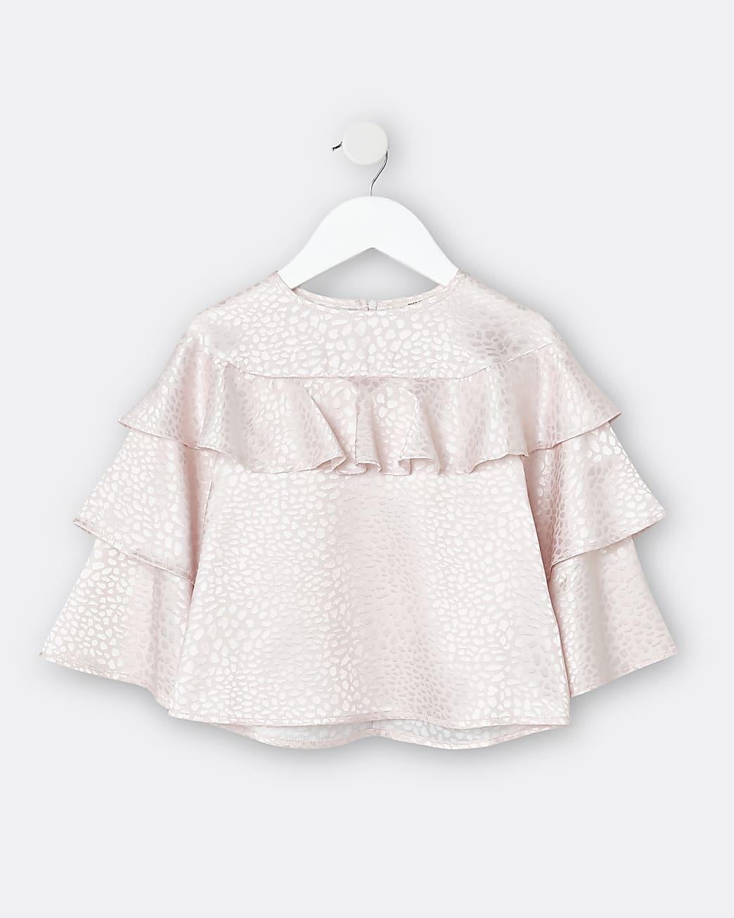 Mini girls pink ruffle blouse top
