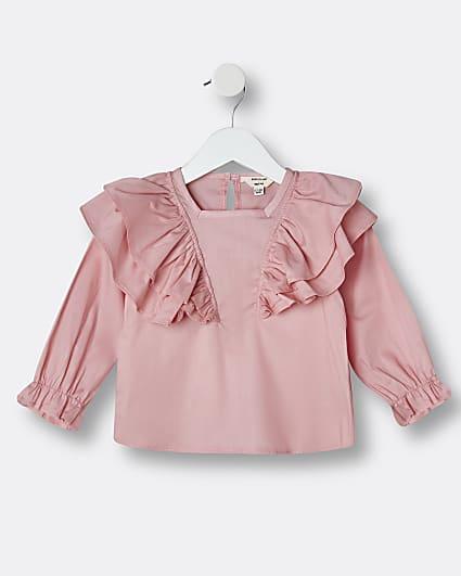 Mini girls pink ruffle long sleeve blouse