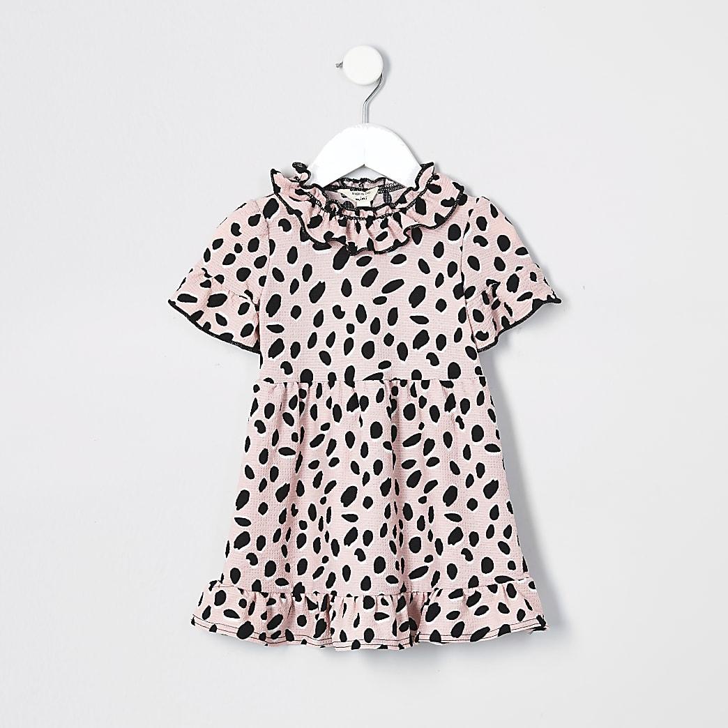 Mini girls pink ruffle neck dress