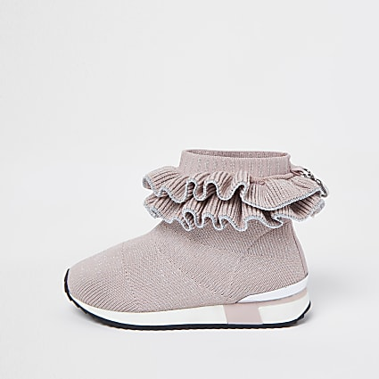 Mini girls pink ruffle sock high top trainers