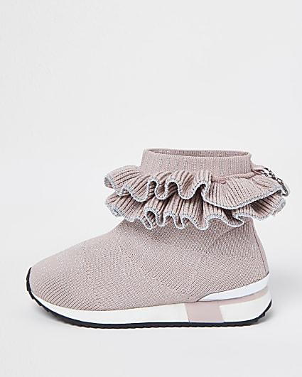 Mini girls pink ruffle sock high top trainers