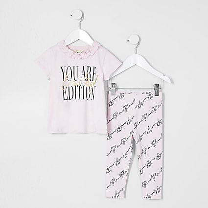 Mini girls pink ruffle t-shirt legging set