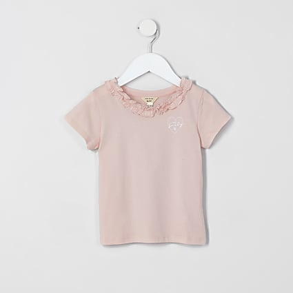 Mini girls pink ruffle tee