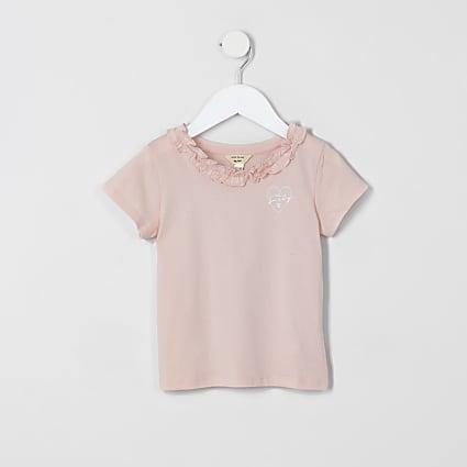 Mini girls pink ruffle tee