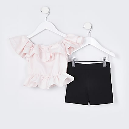 Mini girls pink ruffle top and shorts outfit