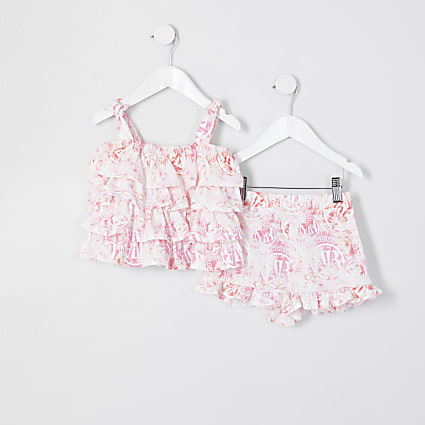 Mini girls pink RVR cami and shorts outfit