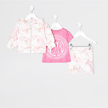 Mini girls pink 'RVR' scuba 3 piece outfit