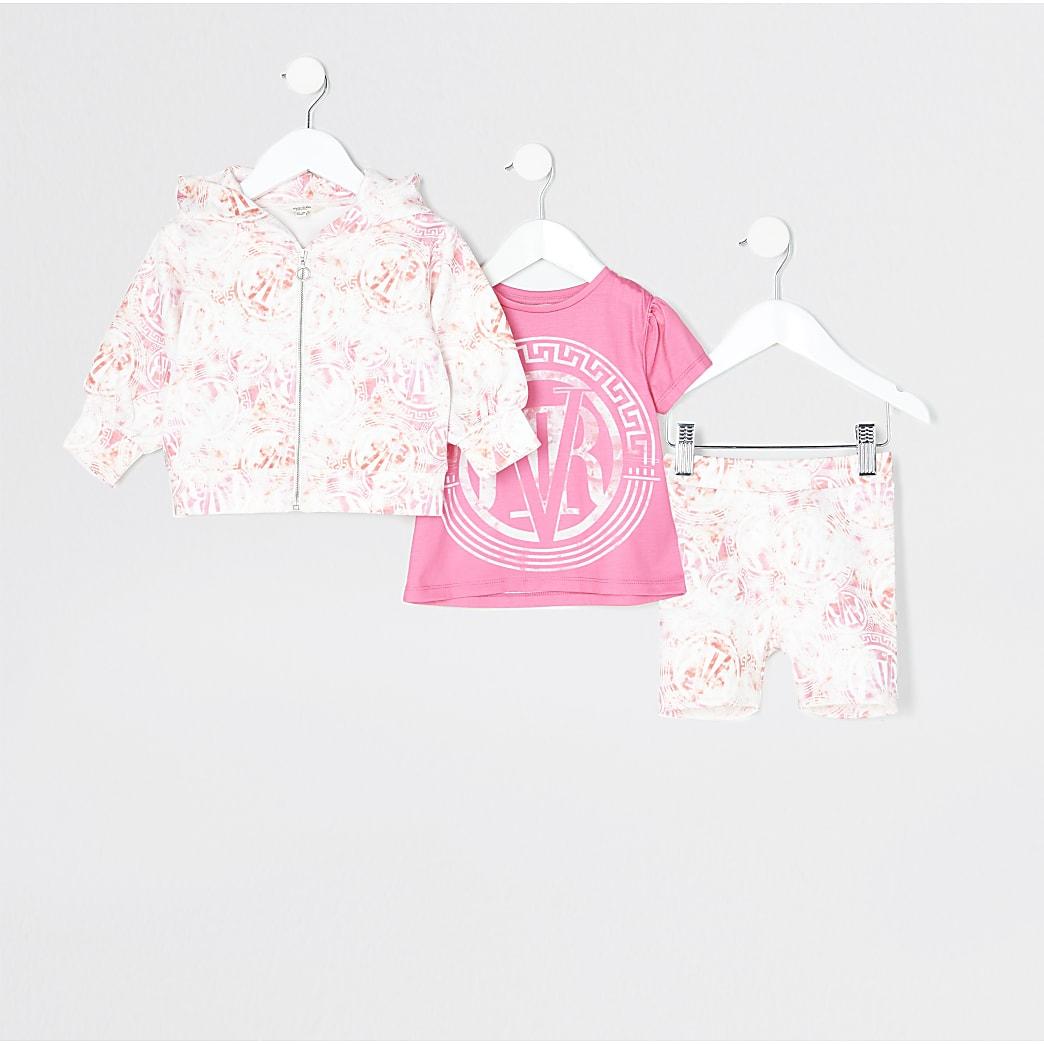 Mini girls pink 'RVR' scuba 3 piece outfit