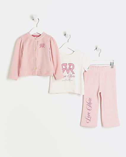 Mini girls pink RVR velour cardigan outfit