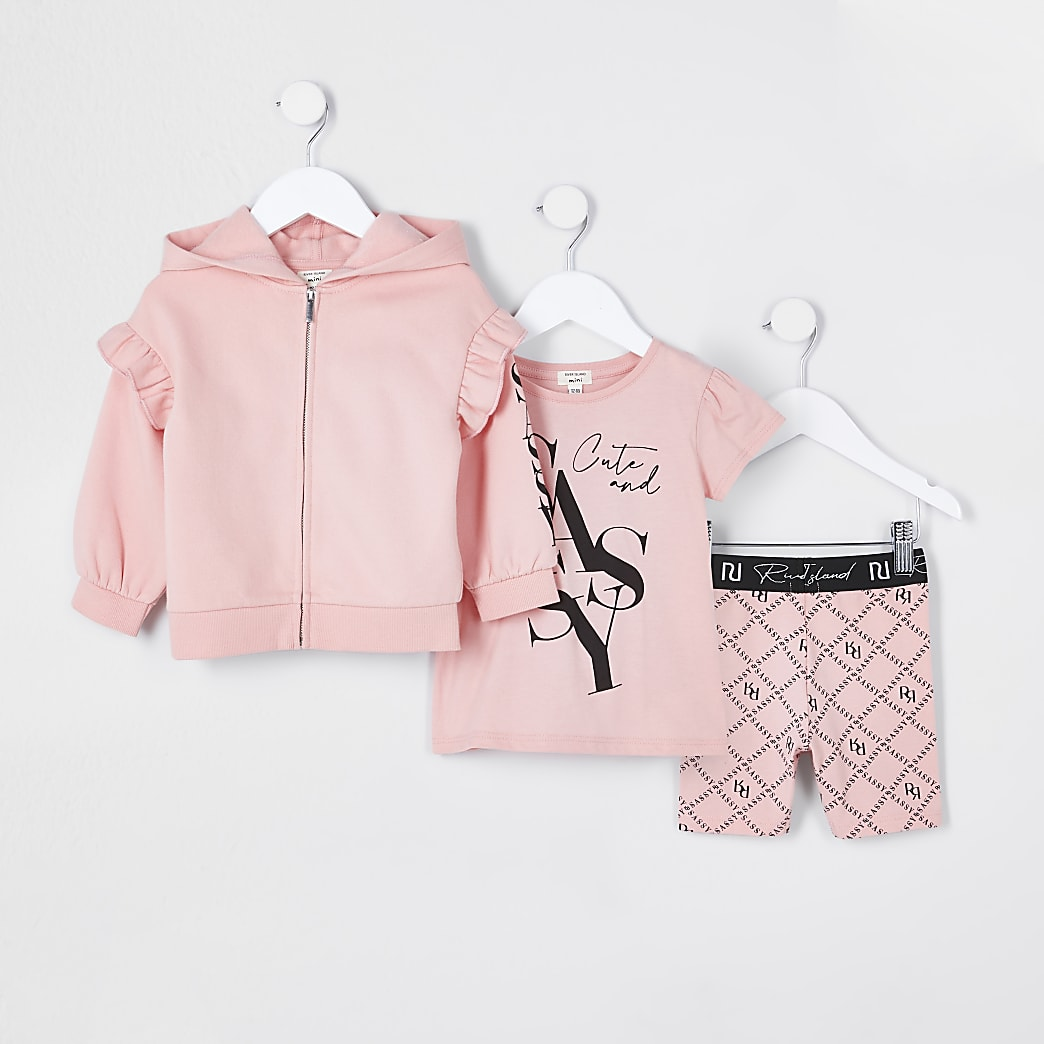 Mini girls pink 'Sassy' 3 piece outfit