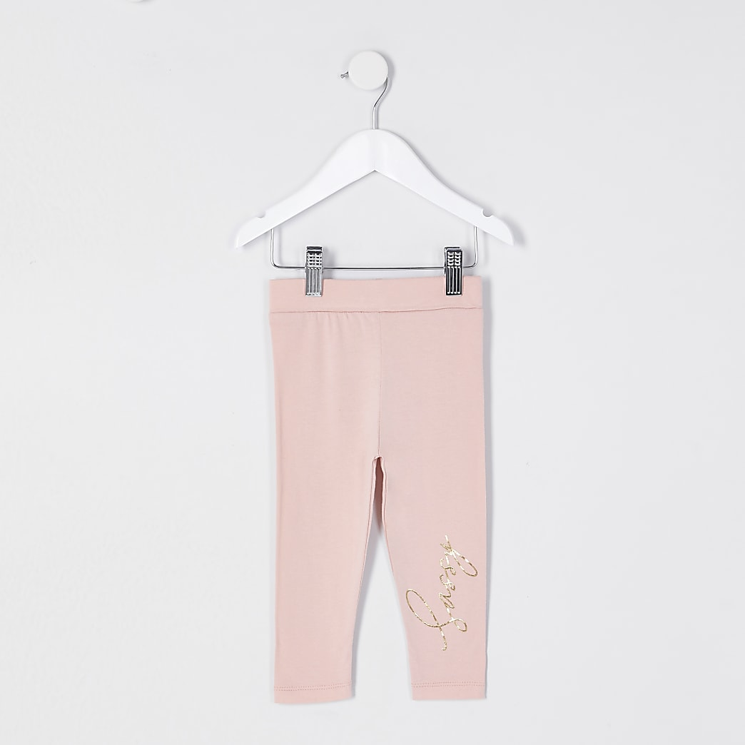 Mini girls pink 'Sassy' leggings