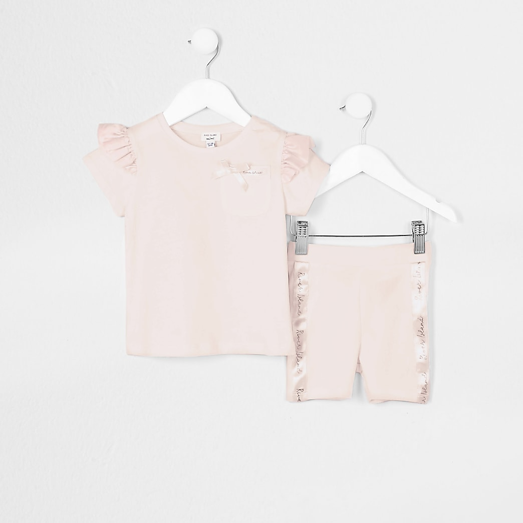 Mini girls pink satin frill t-shirt outfit