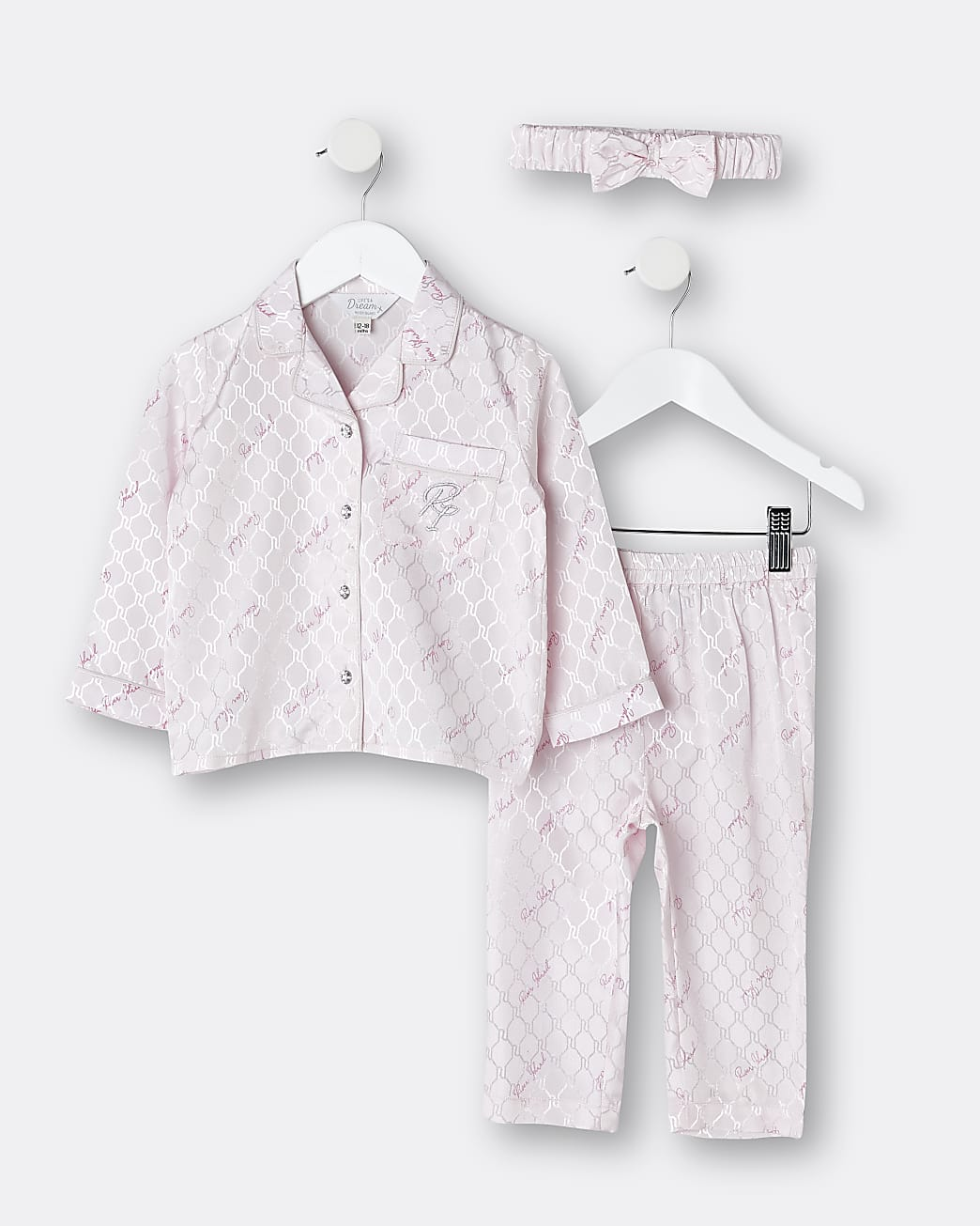 Mini girls pink satin RI pyjama 3 piece set