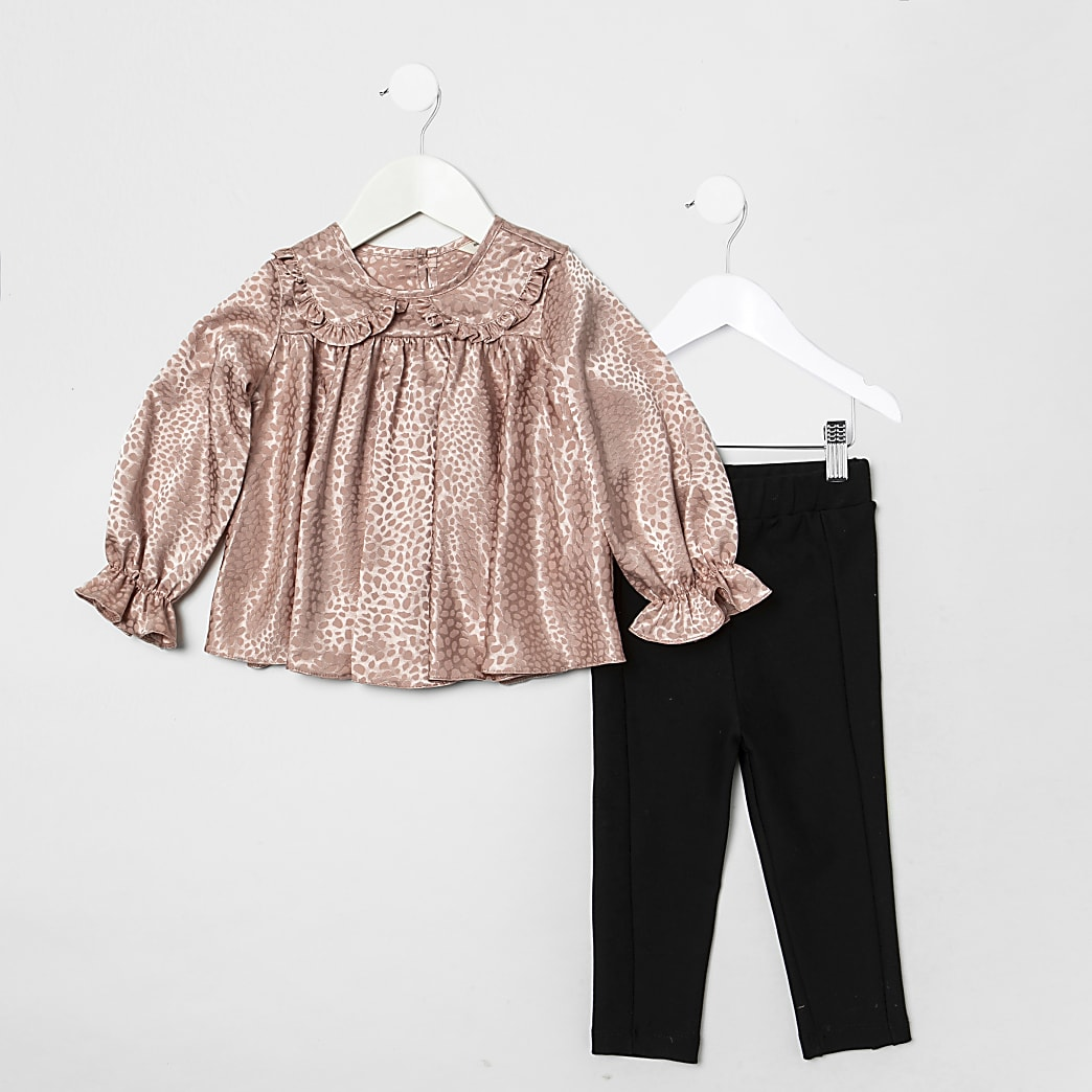 Mini girls pink satin top and legging outfit