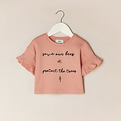 Mini girls pink 'Save bees' frill t-shirt