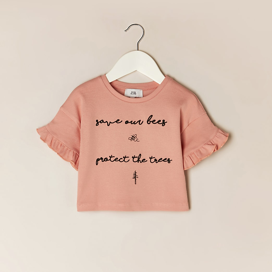 Mini girls pink 'Save bees' frill t-shirt