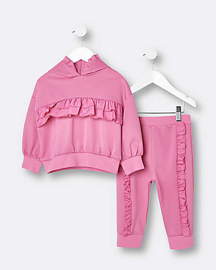 Mini girls pink scuba frill hoodie outfit