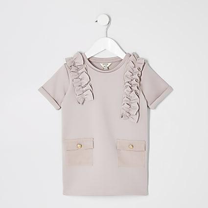 Mini girls pink scuba utility shirt dress