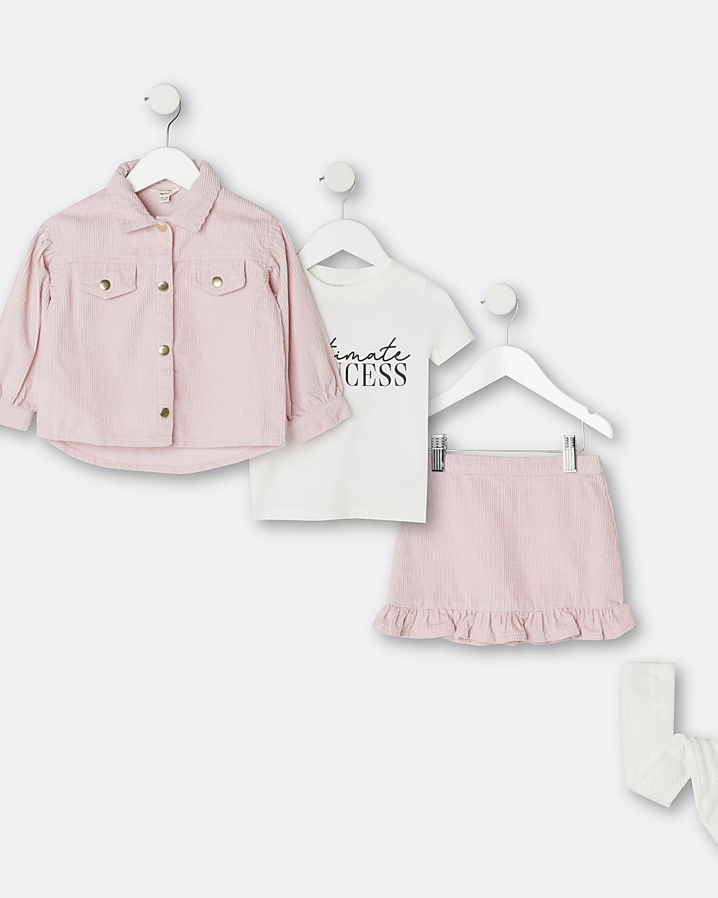 Mini girls pink shacket 4 piece outfit