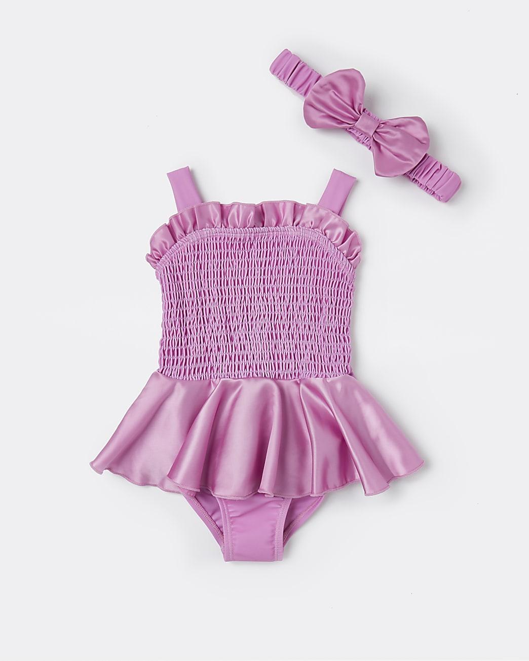 Mini girls pink shirred peplum swimsuit set