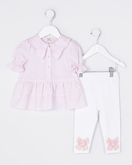 Mini girls pink shirt and legging outfit