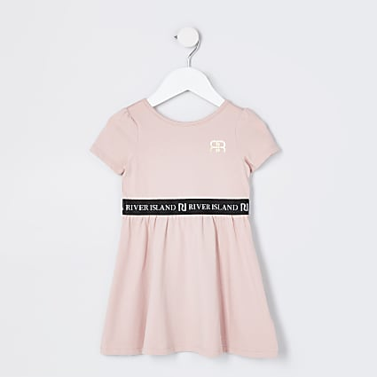 Mini girls pink skater dress